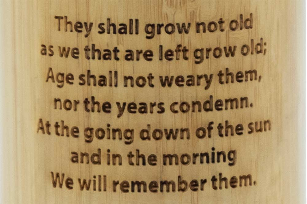 Remembrance Soldier Flask - words